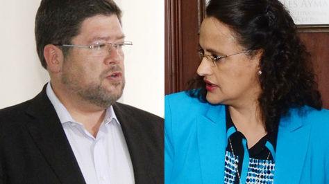 Samuel Doria Medina y la ministra de Transparencia, Lenny Valdivia