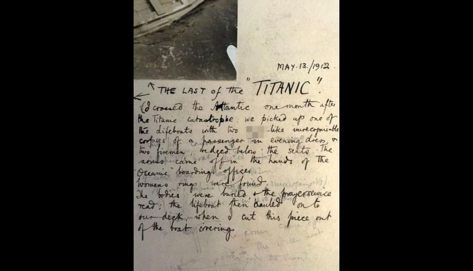 La nota de un pasajero del Oceanic dando cuenta del hallazgo. Está fechada en mayo de 1914. (Foto: HAldridge/BNPS)
