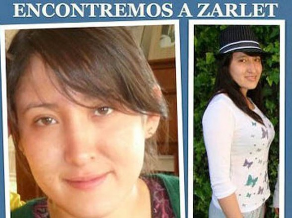 ZARLET. Las fotografías de la joven fueron distribuidas en toda la ciudad. - Roberto  Charca H. La Prensa