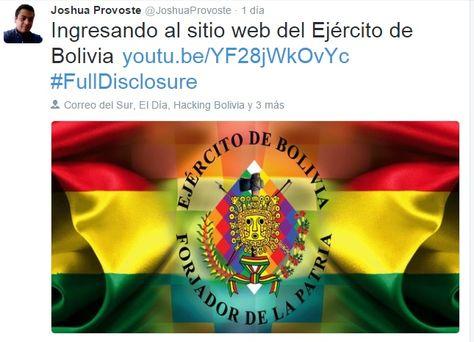 Este es un de los post que envió el hacker chileno alertando sobre el ingreso a la página web del Ejército de Bolivia.