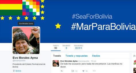 El mensaje de Evo Morales en su cuenta oficial de Twitter.