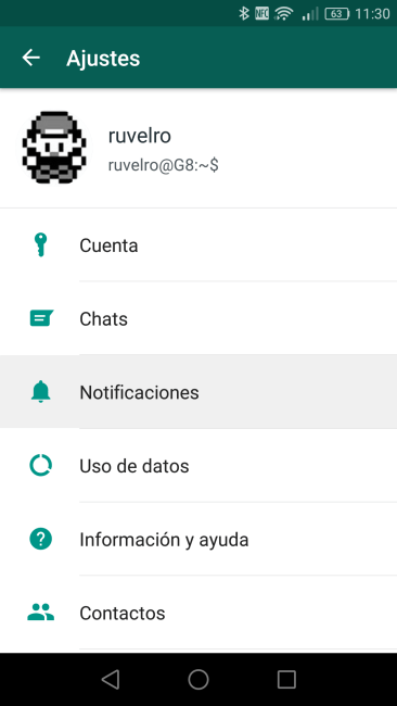 Ajustes de WhatsApp - Notificaciones