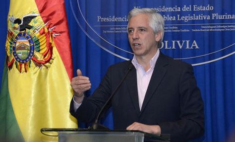 García Linera en conferencia de prensa