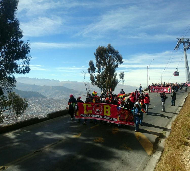 Marcha de la COB en La Paz. Foto: La Razón