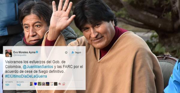 El presidente Evo Morales se refirió en Twitter al acuerdo de cese al fuego bilateral en Colombia