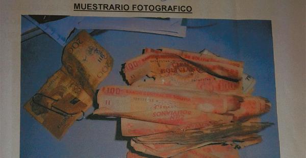 Gráfica de la Fiscalía del conteo de dinero en bóvedas del banco