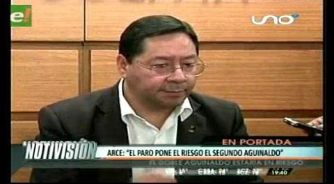 Titulares de TV: Ministro Arce dice que segundo aguinaldo está en riesgo por el paro de la COB