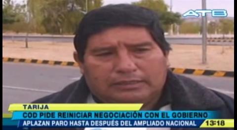 COD de Tarija decide postergar el paro de 72 horas