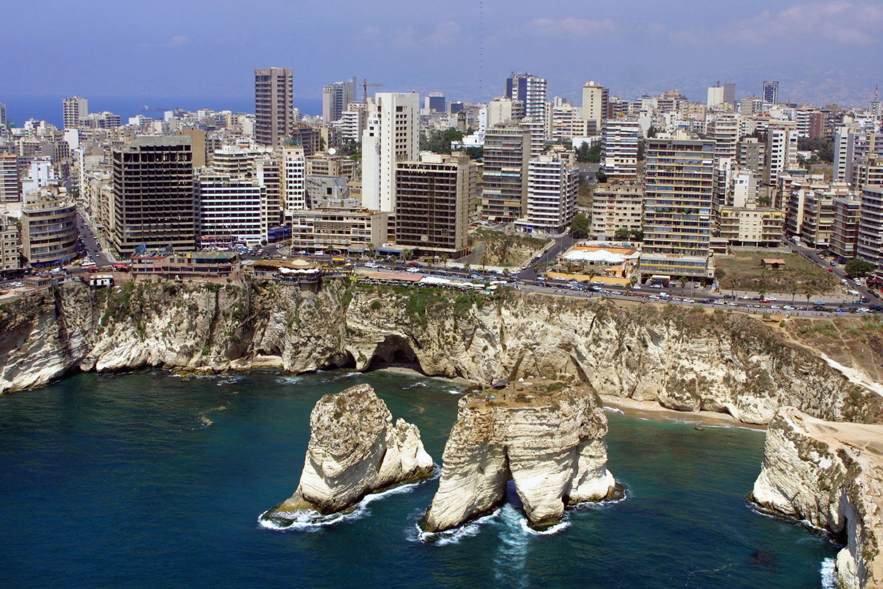 BEIRUT - JULY 14:  An aerial picture taken on July 14,  2001 shows the Rawshe Rock off the coast of Beirut, Lebanon.  (Photo by Ramzi Haidar/AFP/Getty Images)