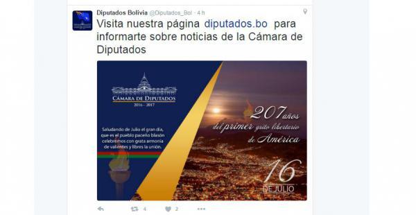 Tuit de la Cámara de Diputados en la que señalan a La Paz como escenario del primer grito libertario