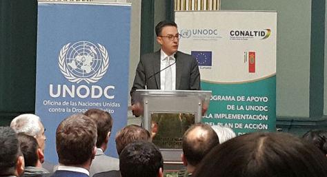 El representante de la UNODC en Bolivia, Antonino De Leo, durante la presentación del informe