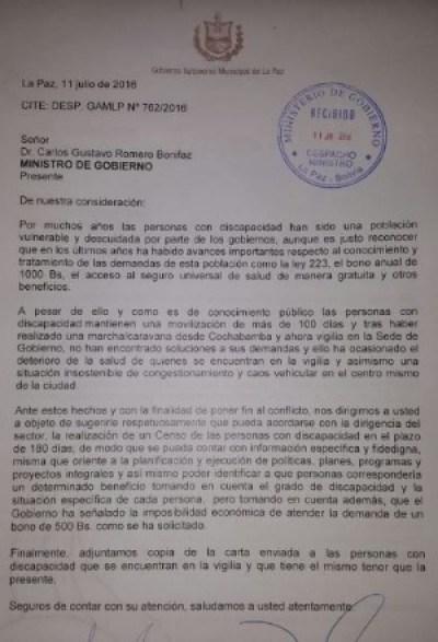 Lee la carta que Revilla les escribió a tres ministros