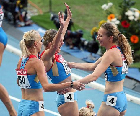 2013. Atletas rusas que compitieron en el Mundial de Atletismo en Moscú.