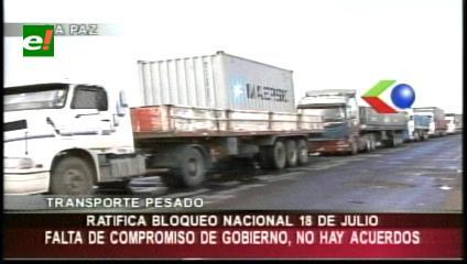 Dirigentes del transporte pesado anuncian un bloqueo para el 18 de julio