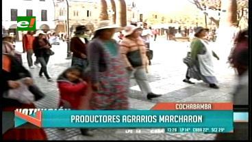 Cochabamba: Productores agrarios marcharon, exigen la perforación de pozos de agua