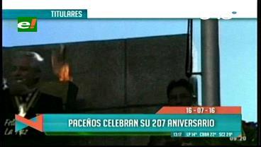 Titulares de TV: Paceños celebran su 207 aniversario, residentes en todo el país homenajean a La Paz