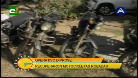 Operativos: Diprove recupera motocicletas robadas