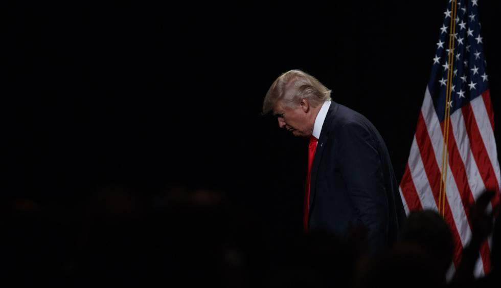 Donald Trump, tras pronunciar el discurso sobre política económica de este lunes.