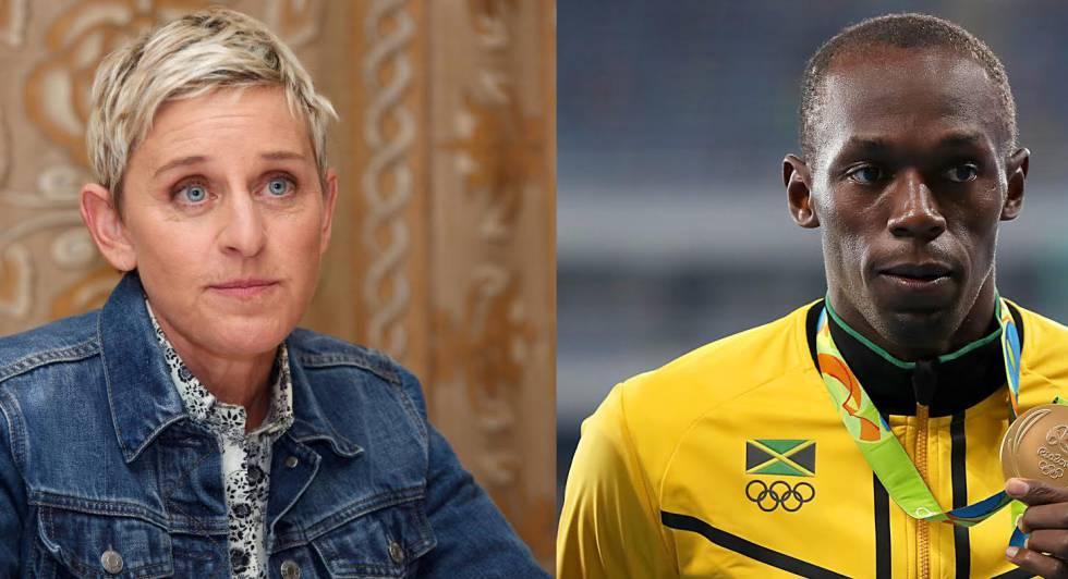 La presentadora Ellen DeGeneres y el atleta Usain Bolt.