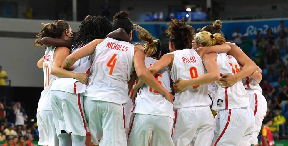 Las jugadoras española celebran el pase a la final