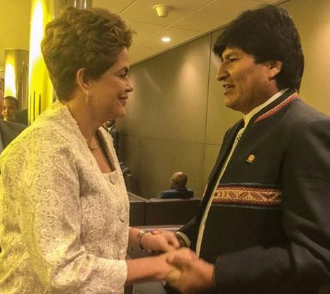 Dilma Rousseff y Evo Morales en un encuentro que tuvieron en abril Nueva York. Foto: Twitter Ministerio de Comunicación