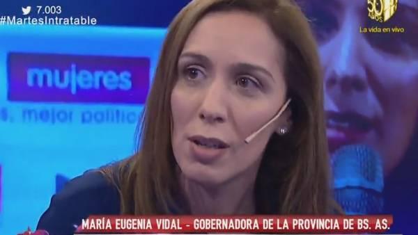 La gobernadora María Eugenia Vidal en Intratables