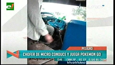 Santa Cruz: Chofer de micro conduce y juega Pokemón Go
