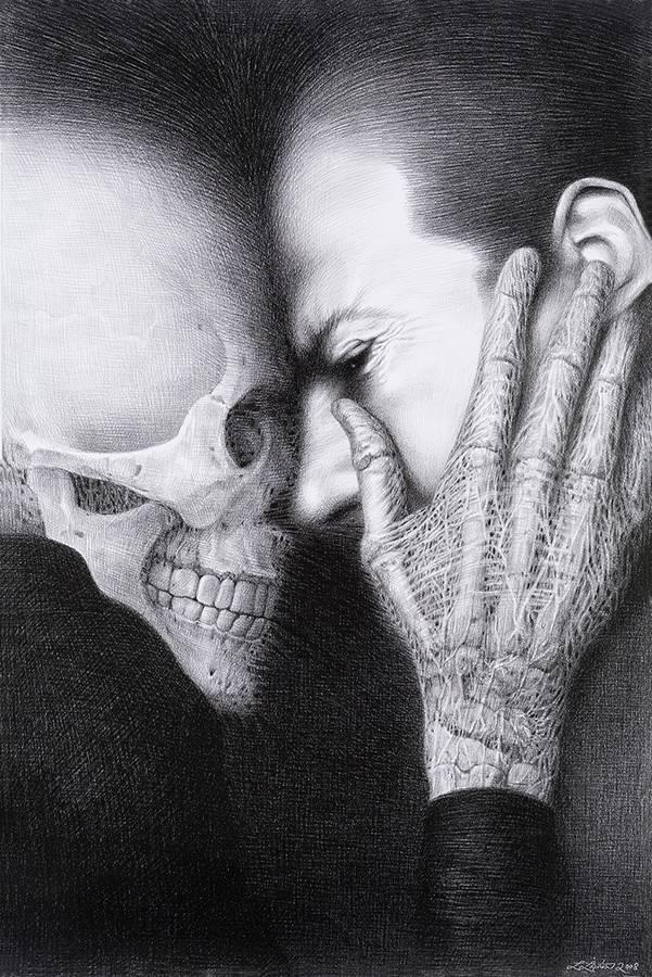 Laurie Lipton, lápiz, dibujo, 'Tête à Tête 2008' ('Cara a cara 2008'), carboncillo sobre papel, 70.5x47cm / 28
