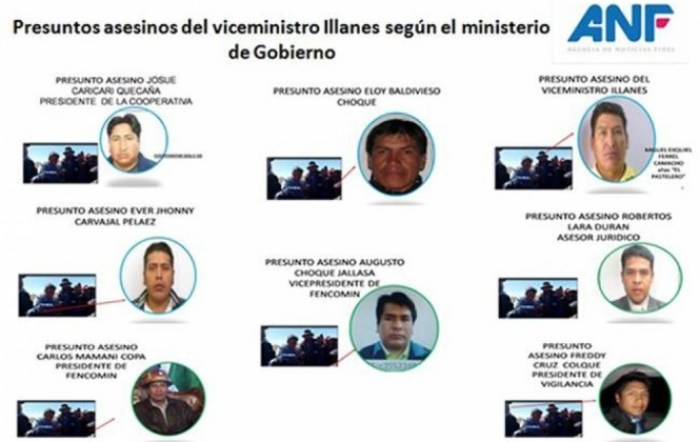 Ministerio de Gobierno difunde fotos individualizadas de 8 presuntos asesinos de Illanes