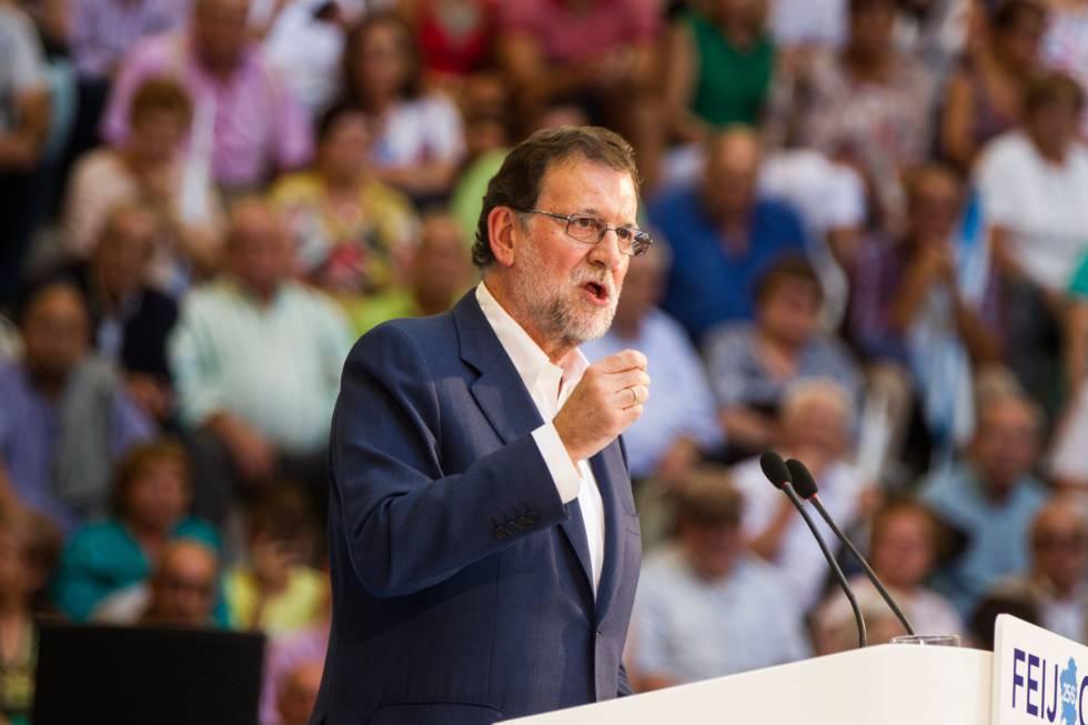 Mariano Rajoy, este sábado en Pontevedra.