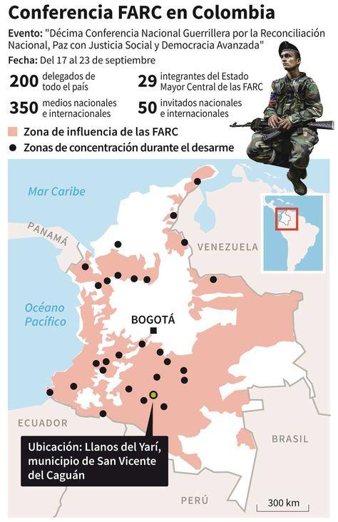 Ubicación de la conferencia nacional de las FARC y datos sobre el evento.