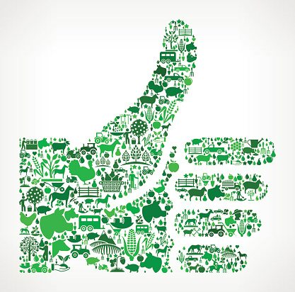 Thumbs Up Farming and Agriculture Green Icon Pattern