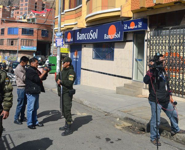 Agencia de BancoSol en la Portada que fue objeto de un robo frustrado.