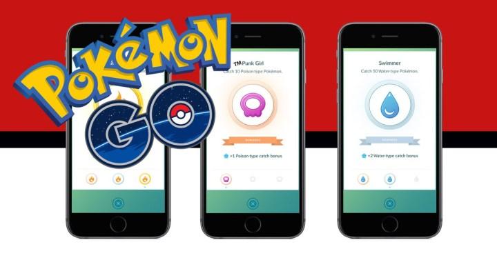 moviles con pantalla de medalla del bonus de captura y logo de pokemon go
