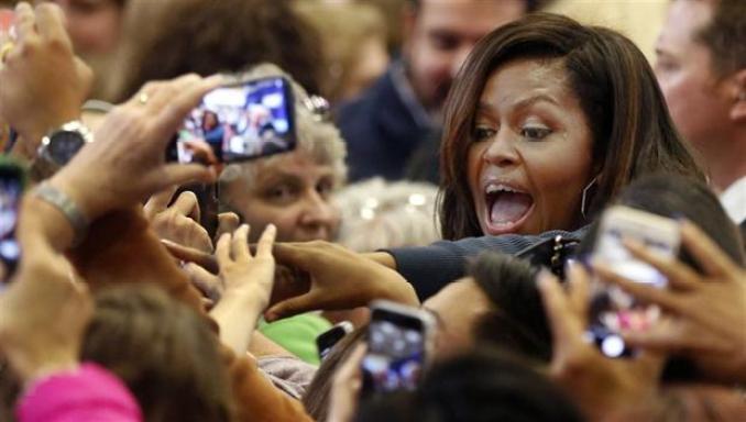 Michelle Obama, ayer, en un acto de campaña a favor de Hillary en New Hampshire
