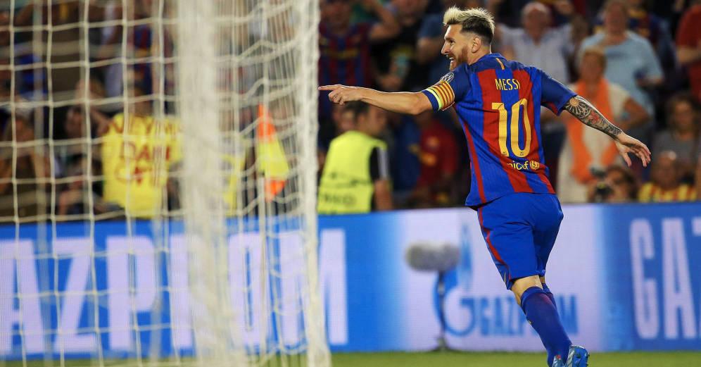 Foto: Leo Messi celebra un gol marcado en el Camp Nou (EFE)