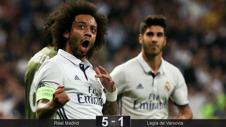 Foto: Marcelo celebra el tanto que él provocó. (Reuters)