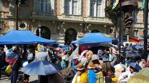 Gremiales de La Paz protestan en rechazo de la carnetización en el sector. Foto: Ángel Guarachi