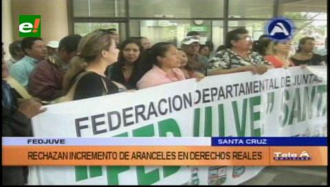 Santa Cruz: Fejuve rechaza el incremento de aranceles en Derechos Reales
