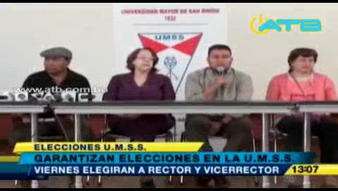 Garantizan elecciones de la UMSS para este 14 de octubre