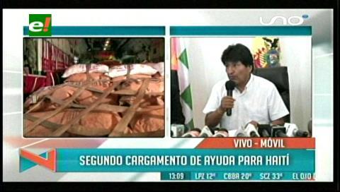 Bolivia despacha a Haití un segundo cargamento de ayuda humanitaria