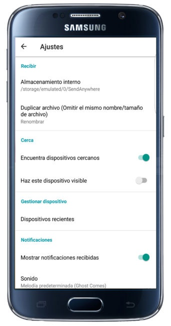 Ajustes de Send Anywhere