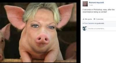 Los usuarios de Facebook convirtieron la cara de Pamela Ramsey en la de un cerdo./ Facebook