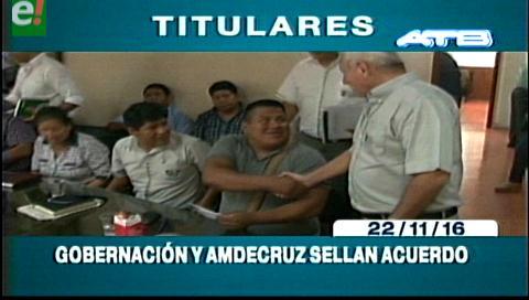 Titulares de TV: Gobernación y Amdecruz sellan acuerdo por regalías