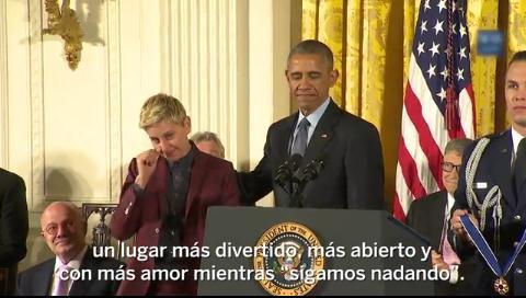 Las lágrimas de Ellen DeGeneres al recibir la medalla de la libertad de Obama