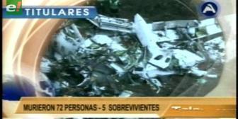 Titulares de TV: Avión boliviano protagoniza un trágico accidente en Colombia