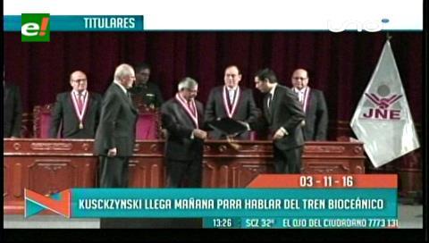 Titulares de TV: Presidente del Perú llega mañana para hablar del tren bioceánico
