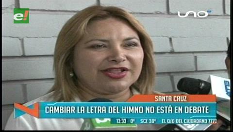 Kathia Quiroga: Cambiar la letra del himno cruceño no está en debate