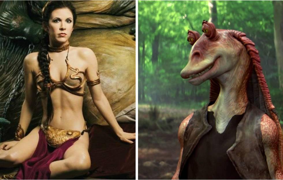 La princesa Leia con su ya legendario bikini y Jar Jar Binks, uno de los personajes más odiados de