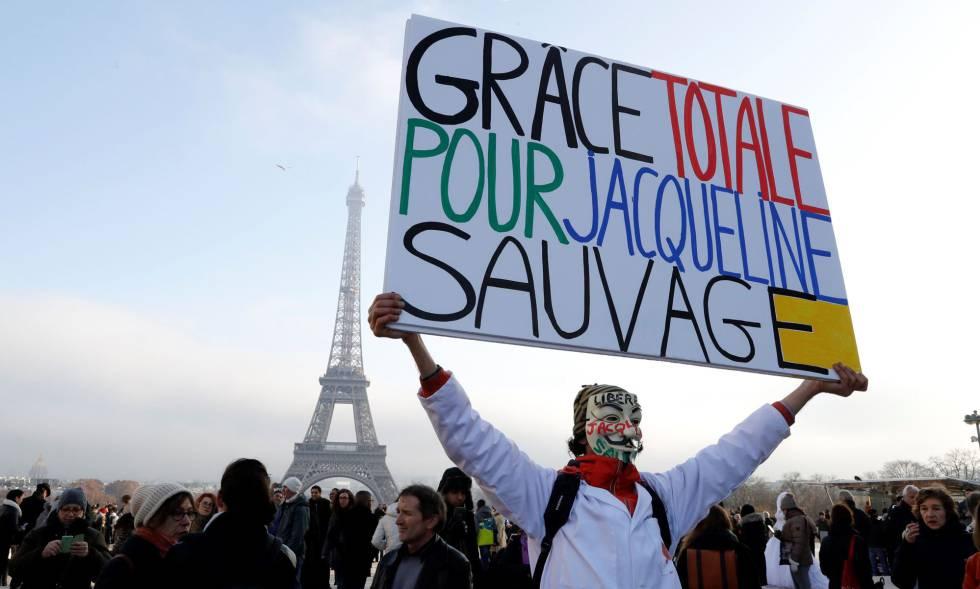 Manifestación a favor de Sauvage el pasado 10 de diciembre en París.